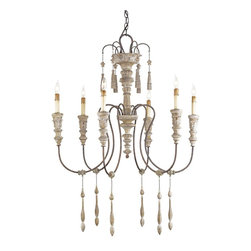 """Currey & Company - Currey & Company Hannah Small Chandelier CC-9119 - The look of an old Swedish classic is translated into a light fixture for today. The delicate arms of Wrought iron are accompanied by a shaft of carved wood and slender wooden drops. The wood is finished in Stockholm White and contrasts nicely with the Wrought iron finish, a rich """"Rust"""" color. This is the next to smallest of four sizes available for this design"""