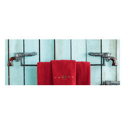 "Silver Pistol Towel Bar - A Black Forest Decor Exclusive - Realistic cast iron pistols and a rust-resistant powder coated bar give the Silver Pistol Towel Bar a shot of frontier style. Measures 28""W x 2""D x 3""H. ~"