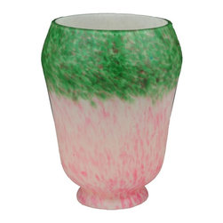 Meyda Tiffany - Pink and Green Grape Pate De Verre Shade - Victorian Floral Stickley theme. 4 in. Dia. x 5 in. H