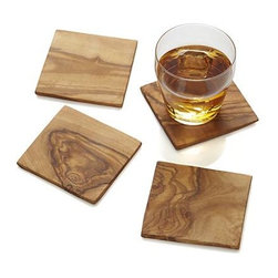 Set of 4 Olivewood Coasters - Square handcarved coasters put the focus on pure, beautifully grained and ecologically harvested olivewood