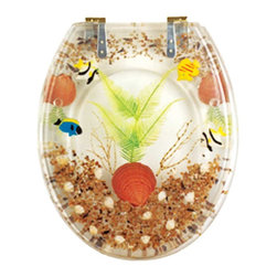Renovators Supply - Toilet Seats Brass PVD Polymer Sandy Shore Round Toilet Seat | 16952 - Sandy Shore Toilet Seats: Made of High Grade Polymer this seat is designed for maximum strength and durability and does NOT yellow over time like most polymers. Fits over standard size toilet bowls and comes in a variety of designs. Cast within the seat the stabilizing bumpers prevent rocking and keep the seat safely in place. Solid brass PVD swivel hinges are easily adjustable 3 5/8 inch to 7 1/2 inch and easier to clean. Physical Vapor Deposition protects brass hinges from tarnishing for years to come. Seat measures: 15 13/16 inch x 14 9/16 inch Lid measures: 14 5/16 inch x 13 1/8 inch Round shape.