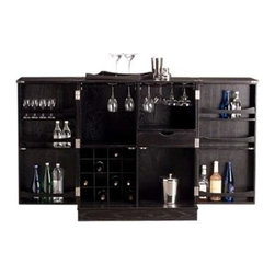 Proman Products - Steamer Bar Cabinet in Black Finish - Casters underneath for easy moving. Assembly Required. 37.5 in. W x 21.5 in. D x 42 in. H