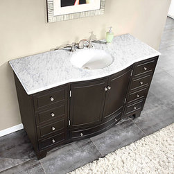 Silkroad Exclusive - Silkroad Exclusive 55-inch Carrara White Marble Stone Top Bathroom Single Sink C - Add beauty and functionality to your home with this elegant espresso-colored single-sink vanity. This lovely structure features nine drawers and a spacious cabinet, giving you plenty of space to store toiletries and other bathroom essentials.