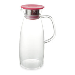 ForLIFE - FORLIFE Mist Glass Ice Tea Jug , 50-Ounce, Red - MIST Ice Tea Jug is designed for a simple way of making the cold-steeping ice tea. The double ring silicone gasket ensures lid from falling off when serving. The 0.5mm hole stainless-steel filter catches tea leaves and gives you smooth pouring. The filter and silicone gasket are easy to take apart for cleaning. True borosilicate hand blown glass can take hot water to ice cold water.