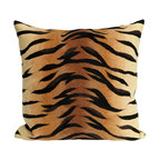 """Trans-Ocean - Tiger Brown Pillow - 12""""X20"""" - The highly detailed painterly effect is achieved by Liora Mannes patented Lamontage process which combines hand crafted art with cutting edge technology.These pillows are made with 100% polyester microfiber for an extra soft hand, and a 100% Polyester Insert.Liora Manne's pillows are suitable for Indoors or Outdoors, are antimicrobial, have a removable cover with a zipper closure for easy-care, and are handwashable."""