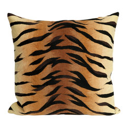 "Trans-Ocean - Tiger Brown Pillow - 12""X20"" - The highly detailed painterly effect is achieved by Liora Mannes patented Lamontage process which combines hand crafted art with cutting edge technology.These pillows are made with 100% polyester microfiber for an extra soft hand, and a 100% Polyester Insert.Liora Manne's pillows are suitable for Indoors or Outdoors, are antimicrobial, have a removable cover with a zipper closure for easy-care, and are handwashable."