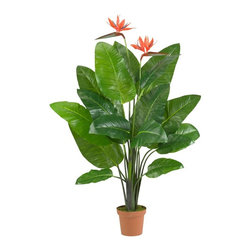 """Bird of Paradise Plant (Real Touch) - Bring the tropical sunshine indoors with this lush Bird of Paradise plant. Standing a full 58"""" high, this beautiful specimen sports large, full leaves with distinct, colorful blooms that perfectly capture the delicate nature of this plant. This is also a """"real touch"""" offering, which means it feels as real as it looks (without ever needing water!) Height= 58 In. x Width= 36 In. x Depth= 30 In."""