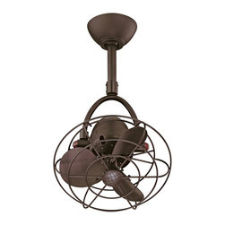 """Matthews Fan Company - Contemporary 13"""" Diane Textured Bronze Metal Blades Ceiling Fan - The Diane ceiling fan offers an inspired retro industrial look and a full set of features. Wide 120 degree side-to-side oscillation offers great air circulation. Comes in a sophisticated textured bronze finish with matching blades and blade guard. Includes remote control which operates both fan speed and oscillation. 3-speed motor comes with a limited lifetime warranty. UL rated for damp locations. Includes 20"""" downrod; other sizes available upon request. Textured bronze finish. Cast aluminum and steel construction. Includes remote control. 120 degree oscillation. Limited lifetime warranty. UL rated for damp locations. 20"""" downrod included. 13"""" blade span. 70 degree blade pitch. (UM)  Textured bronze finish.   Cast aluminum and steel construction.   Includes remote control.   120 degree oscillation.   Limited lifetime warranty.   UL rated for damp locations.   20"""" downrod included.   13"""" blade span.   70 degree blade pitch.  Fan height 32"""" ceiling to bottom (with 20"""" downrod).  Canopy 6"""" wide."""