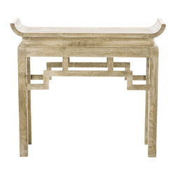 Arteriors - Chen Console - Asian motifs underscore the simple, contemporary lines of this stylish console table. Made of solid wood and treated with a limed wash finish, this table straddles the line between Old World and New, adding a subtle Far Eastern accent to any interior.