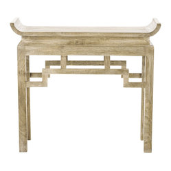 Arteriors - Chen Console By Arteriors - Asian motifs underscore the simple, contemporary lines of this stylish console table. Made of solid wood and treated with a limed wash finish, this table straddles the line between Old World and New, adding a subtle Far Eastern accent to any interior.