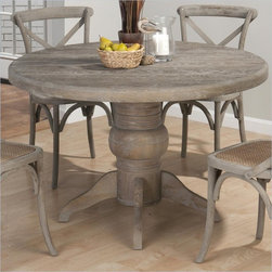 Jofran Round Solid Oak Dining Table in Burnt Grey - This solid oak pedestal table will be a durable, unique accent in your coastal or tropical style room. The simple round design of the table is accented by the thick pedestal base carved out of solid oak and finished to a smooth polish. The table was colored with a distressed looking Burnt Grey finish to create the illusion of driftwood washed up on to the seashore. Whether you use it as a kitchen or formal dining table, your guests will love this tropical style table.