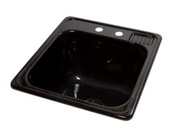 """Lyons Industries - Laundry Tub, 20""""L x 25""""W with Extra 12"""" Deep Sink, Acrylic Self-Rimming, Black - Lyons Industries Black Self-rimming acrylic Laundry Sink with molded soap dish. This 20"""" x 25"""" sink has a functional design, with a 12"""" deep bowl and two faucet holes on 4"""" centers. This sturdy sink has durable easy to clean high gloss acrylic construction with a fiberglass reinforced insulation backer. This sink is quiet and provides a superior heat retention than other sink materials. Lyons sinks are proudly Made in America by experienced artisans supporting our economy."""