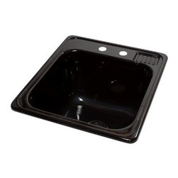 "Lyons Industries - Laundry Tub, 20""L x 25""W with Extra 12"" Deep Sink, Acrylic Self-Rimming, Black - Lyons Industries Black Self-rimming acrylic Laundry Sink with molded soap dish. This 20"" x 25"" sink has a functional design, with a 12"" deep bowl and two faucet holes on 4"" centers. This sturdy sink has durable easy to clean high gloss acrylic construction with a fiberglass reinforced insulation backer. This sink is quiet and provides a superior heat retention than other sink materials. Lyons sinks are proudly Made in America by experienced artisans supporting our economy."