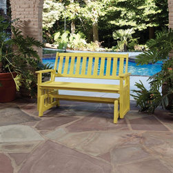 HomeStyles - Bali Hai Outdoor Glider Bench Lemonade Finish - Eco-friendly, plantation grown Shorea wood. Contoured seat. traditional slat design. Stainless steel hardware. Dimensions: 54.25 in. W X  28 in. D X  35.75 in. HCreate an island oasis on your porch or patio with a Home Styles Bali Hai Outdoor Glider Bench.  Showcasing an island inspired design in a versatile lemonade finish with rubbed aged look and construction of eco-friendly, plantation grown Shorea wood which is known for its exceptional durability and natural resistance to water, this bench is designed to provide endless hours of outdoor entertainment use.  Curved back and contoured seat provides excellent support and imparts a slightly modern touch to the overall traditional slat design.  Beautifully built with stainless steel hardware. Seat height measures 17.75 inches high. Size: 54.25w 28d 35.75h.