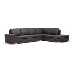 Baxton Studio - Baxton Studio Callidora Dark Brown Leather-Leather Match Sofa Sectional - This is one leather couch with both size and style that will not disappoint. While the dark brown sectional comfortably seats four, it can fit up to six individuals if the need arises. The design is somewhat understated, but includes details such as the mirrored feet that add to its intrigue and charm. The brown leather upholsters all the top portions of both the seat cushions and back cushions. The rest of the sectional is covered with a closely-matched vinyl. The interior cushioning is high-density polyurethane foam, which provides you and your guests with a medium-firm relaxation experience.