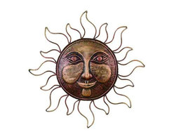 UMA - Friendly Sun King Garden Art Set of 6 - A smiling sun welcomes you to the garden, outdoor room or indoor spaces with a smiling countenance