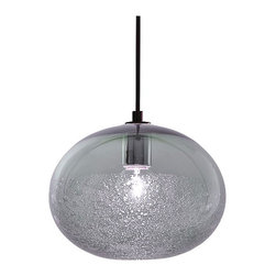Siemon & Salazar - Ellipse Bubble Pendant - Ellipse Bubble pendant features a glass shade available in Aubergine, Alabaster, Grey, Steel Blue,  Clear, or Sargasso. Finish available in Polished Nickel, Dark Bronze, or Satin Nickel with Clear, Black or White cord. Includes six foot cord assembly and canopy. One 40 watt 120 volt G25 medium base globe lamp included. Each piece is handmade and dimensions and color may vary slightly. Fixture is signed by designer. 9 inches wide x 7 inches high.