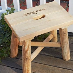"Garden Stool - Lightweight and sturdy, this handsome stool has a unique hand opening for easy carrying. Rustic log construction. Sits well indoors and out. 14 1/4"" H, 10 1/4""W, 16""L."
