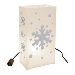LumaBase Electric Snowflake Luminaria Kit - Set of 10 - The LumaBase Electric Snowflake Luminaria Kit - 10 Count are a fun and unique way to celebrate any special occasion.Includes 10 plastic weatherproof lanterns, 10 anchor stakes, one 30-ft. UL-listed electric cord with end-to-end connectors, 10 clear C7-5 Watt bulbs.About JH SpecialtiesFounded in 1989, JH Specialties originated when the company's entrepreneurs sought to redesign a bulky and messy celebration staple. Today, JH Specialties offers unique decorative Luminarias and accessories for special and seasonal occasions to event planners, neighborhoods, fundraising organizations, and retail stores. Since special occasions shouldn't be hard to plan, JH Specialties offer top-of-the-line products for unique events at a competitive price and a great value. The title of Leader in Luminarias comes from their commitment to quality and customer service.