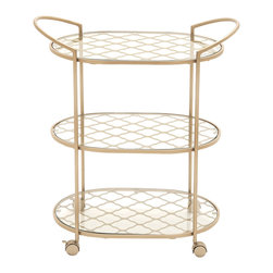 Benzara - Traditional and Modern Style Metal Glass Bar Trolley Home Decor - Description: