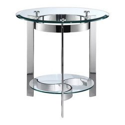 Stein World Mercury Round End Table - Set the Steinworld Mercury Round End Table next to your favorite chair or spot on the sofa and start enjoying a piece of furniture that is truly good at what it does. The simple design stands up straight and strong and does it beautifully. The polished silver finish and glass shelves will be complement any room and it will be right at hand when you need it.About Stein WorldStein World is dedicated to discovering and bringing to the market place the finest hand-painted products from around the world. With over 50 years of experience they have been able to develop not only the resources but true partnerships with quality manufacturers and artisans who make Stein World unique in the furniture industry today. Their commitment to you is to present only the highest quality furniture at prices that bring future family heirlooms into everyone's price range.