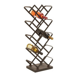 Woodland Imports - Woodland Imports Zig Zag Vertical Metal Wine Rack Multicolor - 51846 - Shop for Wine Bottle Holders and Racks from Hayneedle.com! Showcase your favorite wines with the Woodland Imports Zig Zag Vertical Metal Wine Rack. Sturdily constructed of solid metal with a weathered black finish this minimalist space-saving floor rack has a contemporary feel and carries up to 14 wine bottles.