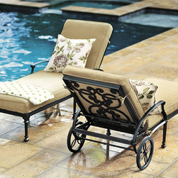 Ballard Designs - Amalfi Chaise - Coordinates with our Amalfi Outdoor Collection. Basic tan cushion included. Sand black finish resists rust and chipping. Extremely strong, yet light enough for easy placement. Assembly required. Since each piece in the inviting Amalfi Collection is crafted of cast aluminum, the decoration can be more ornate and finely detailed. Seat features an intricate basket weave design with a rich 3-dimensional look. Seat back is beautifully scrolled on both sides, so you can enjoy the pattern from behind. And because cast aluminum is extremely strong and much lighter than it looks, pieces place easily and yet feel reassuringly sturdy.Amalfi Chaise features: . . . . . Replacement cushions available. Requires 1 replacement cushion per chaise. Use of an outdoor furniture cover is recommended to extend the life of your piece.
