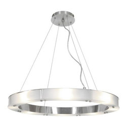 Access Lighting - Access Lighting 50466-BS/FST  (L) Cable Ring Glass Chandelier - (L) Cable Ring Glass Chandelier