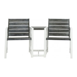 Safavieh - Jovanna 2 Seat Bench - White Frame/ Ash Grey Seat - Good things come in pairs. The Jovana Two Seat Bench is the epitome of contemporary style. A sublime fusion of form and function, it offers two full-sized, sturdy seats crafted with acacia wood and galvanized steel- connected by a petit table perfect for warm weather cocktails.