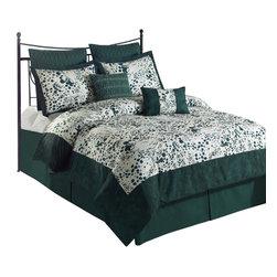 Splash 6-Piece Comforter Set, Hunter Green, Twin - *Micro Fiber