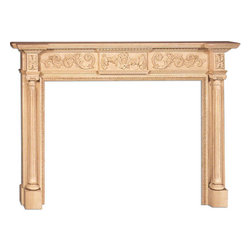 "Inviting Home - Pensacola Large Fireplace Mantel - Pensacola large fireplace mantel overall - 76-1/2""W x 54-3/4""H opening - 58""W x 42""H shelf - 82""W x 10-5/8""D Wood fireplace mantels are hand-carved from premium selected hard maple. Fireplace mantels come unfinished finely sanded ready to accept any stain to match you surrounding woodwork. Classic gracious design of the wood fireplace mantels speaks gently of understated elegance and undeniable refinement."