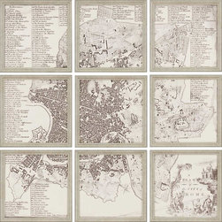 Paragon Decor - City of Rome Set of 9 Artwork - Individual segments of a map of Rome, come together for a judicious look.  Framed in small silver molding.