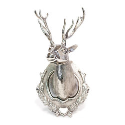 Lodge Deer Head - This Lodge Deer Head is a modern transformation of the elegant masterpieces from the glorious Antique European country collection. Crafted with highest dedication and intricate detailing this charming wall decor has been made out of Aluminum and given a glossy polished finish to exhibit vintage appeal. The floral carvings on the neck of the deer give an aesthetic feel to the whole environment.