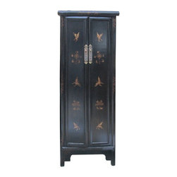 Golden Lotus - Chinese Black Golden Butterflies Tall Narrow Cabinet - This is a tall narrow storage free standing cabinet with black lacquer base color and golden butterflies graphic. It has straight forward design and modern color finish. The butterflies pattern addes the fun and cute feeling.