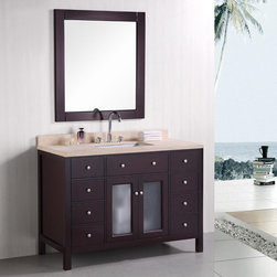 "Design Elements - Venetian 48"" Single Sink Bathroom Vanity - The Venetial 48"" vanity set combines a classic feel with modern simplicity through its warm color palette, round handles, and crisp lines. The fully-assembled cabinet features solid oak construction for both the frame and the panels, with the panels given a water-resistant treatment for maximum longevity. Seated at the base of the ceramic sink is a chrome-finished pop-up drain designed for easy one-touch draining. Practicality was not compromised, as this vanity includes eight functional drawers and one double-door soft-closing cabinet, all of which have been accented with satin nickel hardware. A mirror and faucet are not included with this model.; Solid Oak Wood construction; Beige natural marble countertop; Rectangular undermount sink; Faucet not included.; Polished chrome pop up drain; Eight Functinoal Drawers and One Double Door Cabinet; Soft closing cabinet door ensuresyou never hear door slam again.; Mirror is not included.; Dimensions: 48""W x 22""D x 34""H"