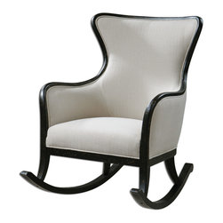 "Uttermost - Sandy High Back Rocking Chair - Shimmering, sandy white woven tailoring with stain resistant fabric protector and brass nail accents. Exposed wood frame and rockers are solid white mahogany with reinforced joinery and hand applied, weathered black finish. Seat height is 19""."