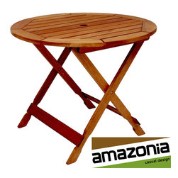 Amazonia - 35-inch Round Bistro Table - Enhance your outdoor area with this round wood bistro table. Designed for durability, this table is perfect for use as a plant stand or for serving drinks and snacks. It can be cleaned with a damp cloth and lightly polished when it gets dull.