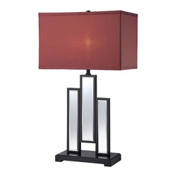 Lite Source - Table Lamp - Mirror Body/Fabric Shade - Table Lamp - Mirror Body/Fabric Shade