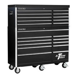 Extreme Tools - Professional 11 Drawer Tool Chest w Wheels - Black Finish - Set includes Roller Cabinet, and Tool Top Chest. Made of Steel. Six (6) 5 in. x 2 in. casters. Handle included fits either end. High gloss powder coat finish. Drawers with ball bearing glides. 100 lbs. rating per drawer. Theft proof lock system. Black finish. Some assembly required. Roller Cabinet: 56 in. W x 20 in. L x 42 in. H (309 lbs.). Tool Top Chest: 56 in. W x 20 in. L x 21 in. H (181 lbs.)