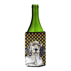 Caroline's Treasures - English Setter Candy Corn Halloween Portrait Wine Bottle Koozie Hugger - English Setter Candy Corn Halloween Portrait Wine Bottle Koozie Hugger Fits 750 ml. wine or other beverage bottles. Fits 24 oz. cans or pint bottles. Great collapsible koozie for large cans of beer, Energy Drinks or large Iced Tea beverages. Great to keep track of your beverage and add a bit of flair to a gathering. Wash the hugger in your washing machine. Design will not come off.