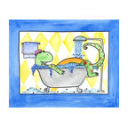 Oh How Cute Kids by Serena Bowman - Dino in Tub, Ready To Hang Canvas Kid's Wall Decor, 8 X 10 - Because even Dinosaurs need gentle reminders.  I love of the Dino tippy toes to reach the sink,  This is part of the my Bathroom Dinos Series. I created this in hopes it would serve has reminders to my kids.  Make the bathroom a fun place and maybe just maybe the kiddies will actually go wash there hands and brush their teeth??  Here's to hoping!