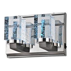 ParrotUncle - Crystal Rectangular Bathroom LED Wall Sconces, 2 Lights, White Light - Crystal Rectangular Bathroom LED Wall Sconces 2 Lights, White Light