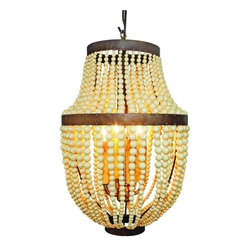 "Creme Bead and Iron Four Light Chandelier - Creme Bead and Iron Electrified Four Light Chandelier Hand crafted by master craftsmen from iron and acrylic beads. Hand-finished in a multi-step process 12"" diameter/19.75"" tall Weight:5 pounds 14 ounces Maximum Four 40 Watt Bulbs"