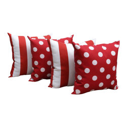 Land of Pillows - Polka Dot Red and Stripe Rojo Red and White Outdoor Throw Pillows - Set of 4 - Give your sofa, window seat or patio lounge a pop of color and design with these red and white throw pillows. This set of four stylish pillows includes two with a chic striped design, and two with a playful polkadot pattern. Crafted from high quality fabric that is stain, water and fade resistant, these square pillows work great indoors or out!