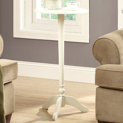 Monarch - Antique White 30in.H Accent Table - With traditional styling and an antique white finish this accent table offers amples storage and will display your favorite pieces for years to come. Constructed from wood and wood veneers, this accent table is sure to add warmth to any room in the house.