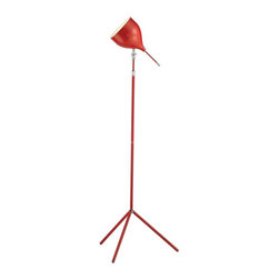 Adesso - Adesso Snapshot Floor Lamp, Red - Red metal floor tripod studio lamp with chrome accents. The shade adjust 360 degrees horizontally and 180 degrees vertically and have a decorative locking adjustment. On/of rotary stick switch on shade. Takes one 60 Watt incandescent or 13 Watt CFL bulb. Adjustable 49 in to 62 in Height is secured by a chrome finished cuff on the pole, Tripod legs: 15 in Length, 19.5 in Triangle footprint. Shade: 13 in Length (8 in plus 5 in chrome-accented shade wand), 6.75 in Diameter.