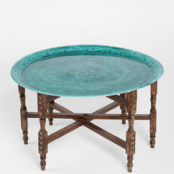 Magical Thinking Folding Table, Turquoise - This little mango wood tray table makes a perfect coffee table or perch for your drinks or appetizers during a party. I also love that it folds right up for easy storage, making it a very flexible piece.
