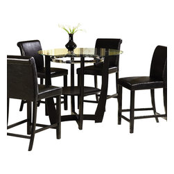 Homelegance - Homelegance Sierra Counter Height Table with Glass Top - The glass topped Sierra collection adds flair to any contemporary casual dining space. The ebony finish is set off by a chrome accent ring furthering its modern shape and appearance. Available in regular height and counter height. Made of select hardwoods and veneers, chairs covered in black bi-cast vinyl.