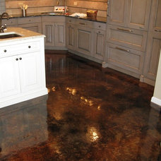 House Ideas / Acid Stained Concrete with High Gloss. No grout to clean and blend