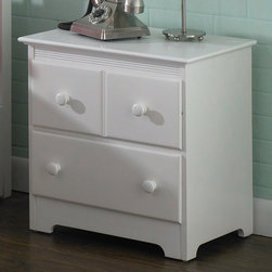"""Atlantic Furniture - Windsor 2-Drawer Nightstand - C-69202 - Shop for Nightstands from Hayneedle.com! A classic companion to any youth-style bed or bunk bed the Windsor 2-Drawer Nightstand offers convenient drawer storage and a handy tabletop surface. The two drawers feature rear box joints and French dovetail joinery on the drawer fronts for strength and resilience. Metal drawer glides ensure smooth drawer operation as you store precious personal items or clothing in the drawers. In addition to its solid rubberwood construction you'll appreciate this nightstand's casual design features including round wooden knobs decorative grooves under the top lip and a sensible kick plate.This nightstand is finished using a high-build five-step finishing process involving sealer coats sanding and multiple finish color coats. This process produces a durable finish. Choose from several finish options to complement any casual cottage-style bedroom in your home. No assembly required.The beauty and benefits of rubberwood: Hailing from the maple family of trees the rubber tree is used in the manufacture of high-end furniture. It is valued for its dense grain minimal shrinkage attractive color and acceptance of different finishes. It is also prized as an """"environmentally friendly"""" wood as it makes use of trees that have been cut down at the end of their latex-producing cycle.About Atlantic FurnitureFounded in 1983 as Watercraft Inc. Atlantic Furniture started as a manufacturer of pine waterbed frames. Since then the Springfield Mass.-based company has expanded to Fontana Calif. The company has moved away from the use of pine and now specializes in imported furniture made of the wood of rubber trees.The Benefits of Eco-Friendly RubberwoodPrized as an environmentally friendly wood rubberwood makes use of trees that have been cut down at the end of their latex-producing life cycle. The trees are removed by hand and replaced with new seedlings. In the past felled rubber trees were either """